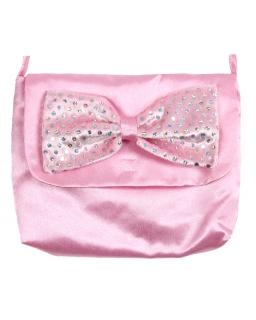Atłasowa różowa torebka z kokardą