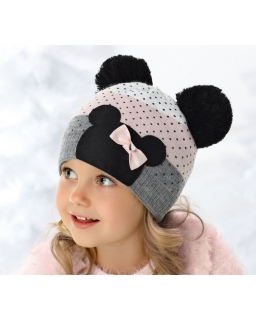Dziewczęca zimowa czapka z uszami myszki Minnie