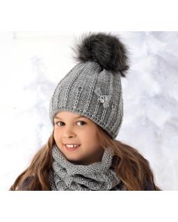 Pleciony zestaw czapka i komin dla dziewczynki