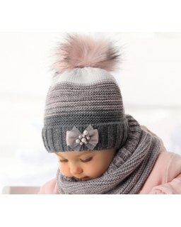 Zimowy komplet czapka i komin dla dziewczynki