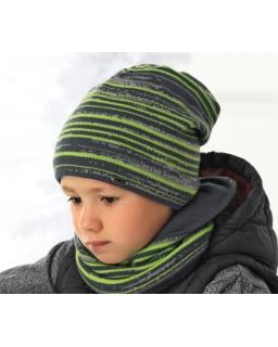 Zimowy komplet czapka i komin w paski dla chłopca
