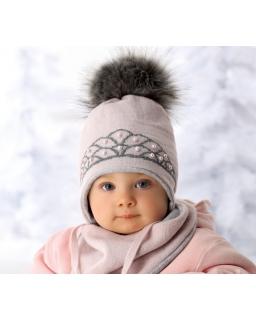 Zimowy zestaw wiązana pod szyją czapka i chustka zapinana na zatrzask