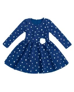 Sukienka z długim rękawem w serduszka dla dziewczynki na jesień zimę