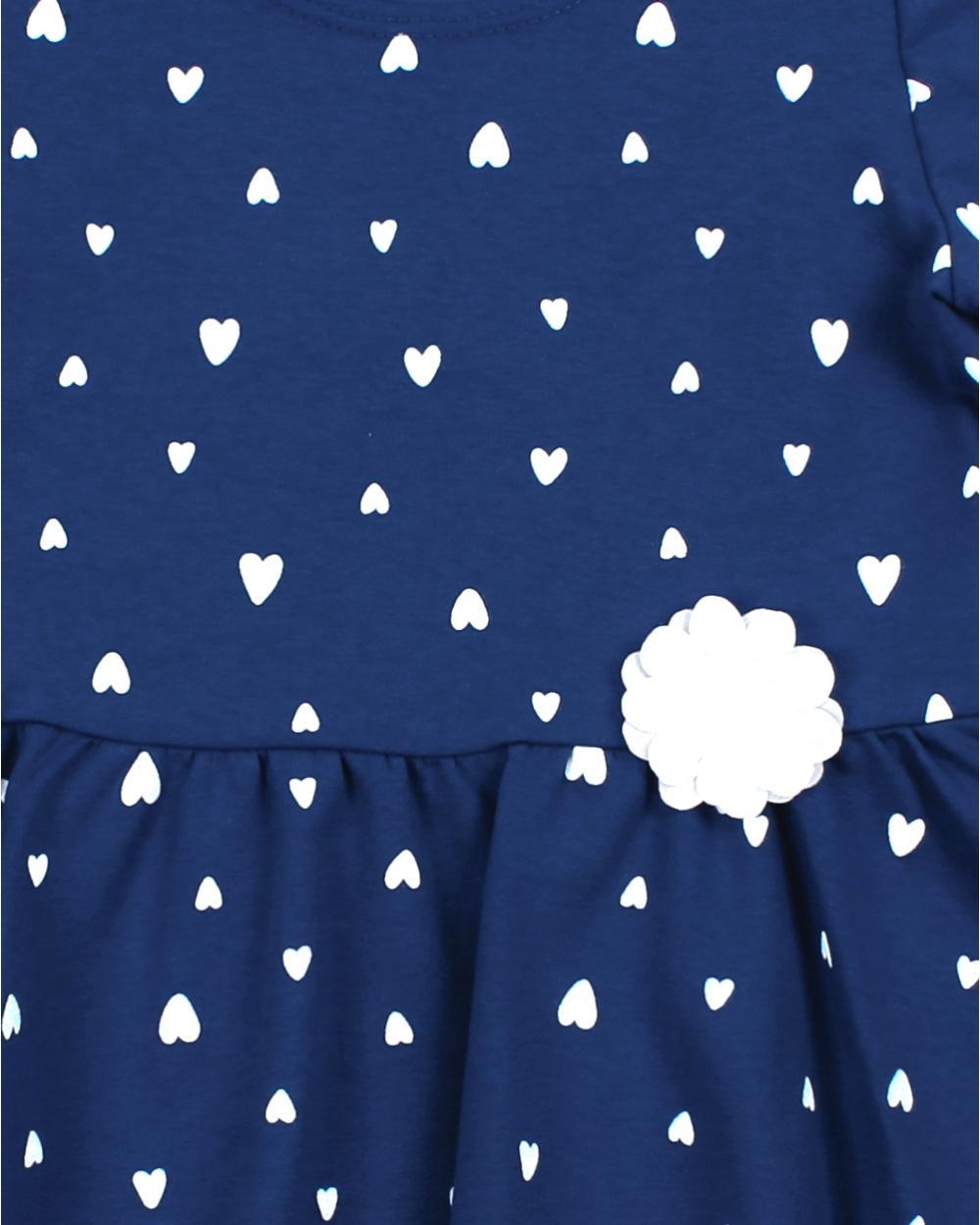 4a72fa2e6e Sukienka z długim rękawem w serduszka dla dziewczynki na jesień zimę  zbliżenie na tkaninę