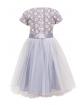 Rozkloszowana sukienka dla dziewczynki z koronką i tiulem tył