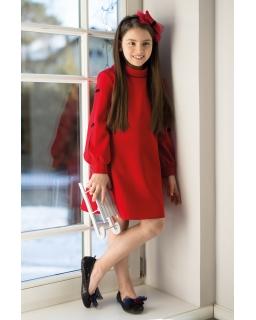 Luźna sukienka z długim ciętym rękawem zakończonym ściągaczem