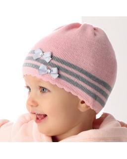 Czapka z kokardkami dla dziewczynki 40-42 AJS/36-005 różowa