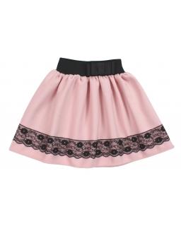 Grubsza spódniczka dla dziewczynki z czarną koronką i gumką w pasie