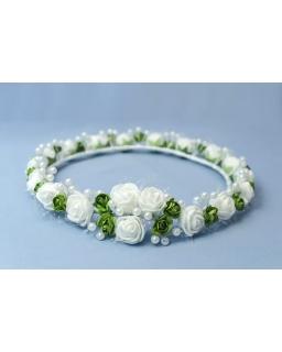 Biało-zielony wianek komunijny