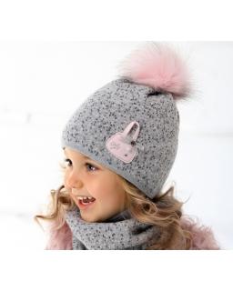 Ciepły komplet dla dziewczynki czapka i komin na zimę