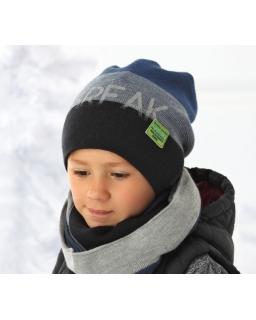 Czapka i praktyczny komin w paski dla chłopca na zimę