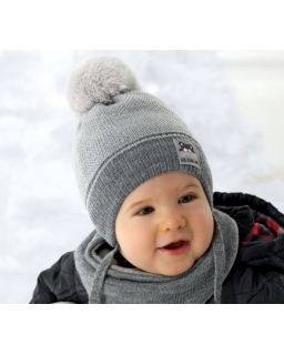 Zimowy komplet czapka i chustka na zatrzask dla chłopca