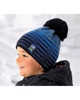 Czapka z pomponem dla chłopca 50-52 AJS/36-373 niebieska