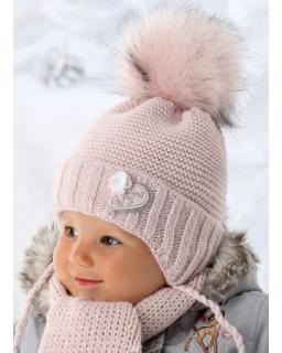 Niemowlęca pleciona czapka z przyjemnym szalikiem