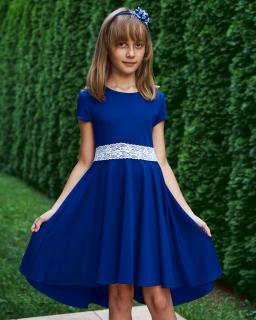 Sukienka z dłuższym tyłem w kolorze chabrowym z białą koronką