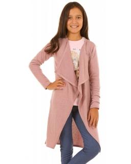 Kardigan dla dziewczynki z asymetrycznym przodem i długim rękawem