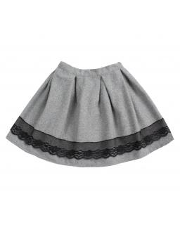 Szara grubsza spódniczka dziewczęca z koronką zamkiem oraz gumką