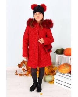 Czerwony płaszczyk typu boucle z torebką