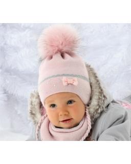 Komplet dziewczęcy zimowa czapka i chustka zapinana za zatrzaski
