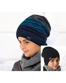Dwustronna zimowa czapka dla chłopca