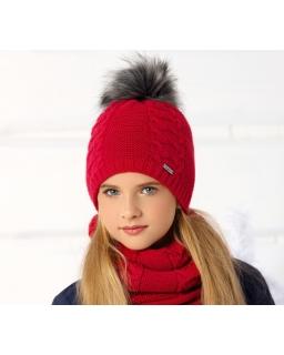 Komplet dla dziewczynki na zimę pleciona czapka i komin