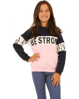 Dziewczęca bluza dwukolorowa w sportowym stylu