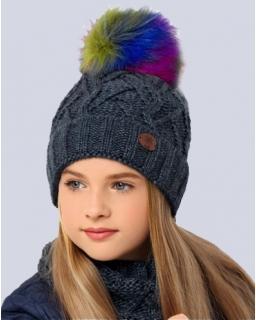 Dziewczęcy komplet na zimę czapka i komin granat