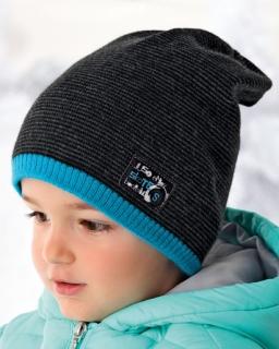 Zimowa czapka ze ściągaczem dla chłopca typu smerf w modne paski
