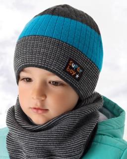 Zimowy modny zestaw czapka i komin dla chłopca