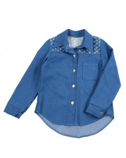 Jeansowa koszula dla dziewczynki z długim rękawem i kołnierzem