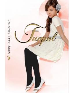 Czarne rajstopy dla dziewczynki, grube, bawełniane, widok na modelce