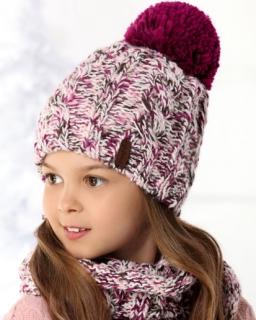 Pleciony zestaw czapka i komin/tuba dla dziewczynki przód