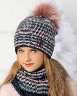 Komplet dla dziewczynki na zimę pleciona czapka i komin przód