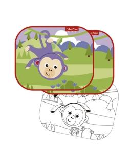 Osłonki samochodowe 2 szt + kolorowanki Fisher Price – małpka
