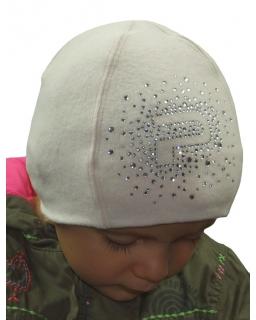 Przejściowa czapka dla dziewczynki z cyrkoniami 48 - 54