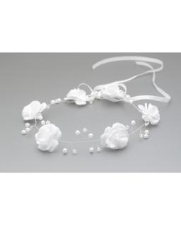 Biała gałązka komunijna z perełkami