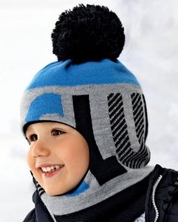 Chłopięca ciepła kominiarka na zimę z pomponem