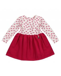 Dziewczęca sukienka ze wzorem w kokardki i długim rękawem