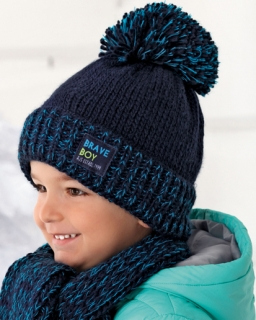 Modny zimowy zestaw chłopięcy pleciona czapka z pomponem i szalik