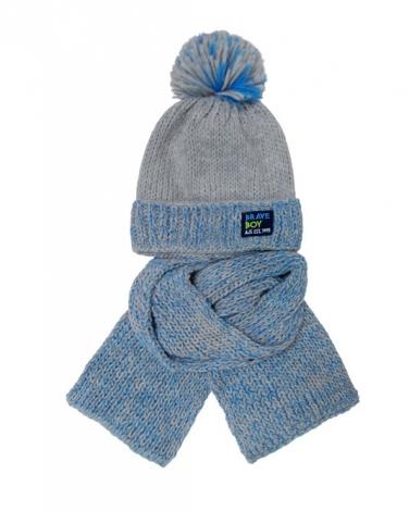 302ed3f860d292 Modny zimowy zestaw chłopięcy pleciona czapka z pomponem i szalik wzór 1