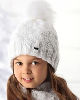 Ciepła dziewczęca pleciona czapka z kominem