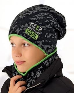 Zimowy wzorzysty komplet dla chłopca czapka z kominem