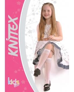 Białe podkolanówki w kropeczki Knittex 18-22 cm Pola
