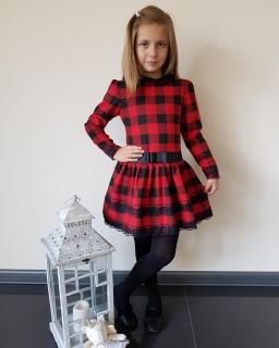 Sukienka w czerwono czarną kratkę z kołnierzykiem i tiulowym dołem