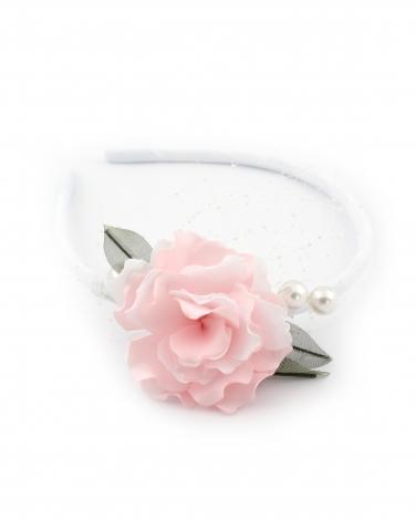 Biała opaska z różowym kwiatem