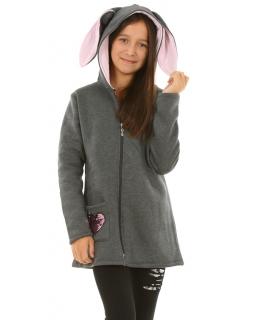 Ciepła dziewczęca bluza z zamkiem i uszami królika