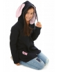 Ciepła dziewczęca bluza z zamkiem i uszami królika zbliżenie