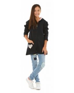 Ciepła bluza dziewczęca z kapturem 122-152 KRP202 granatowa