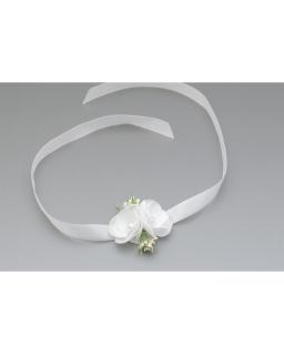 Biało-zielona opaska komunijna z perelkami