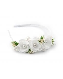 Biało-zielona opaska komunijna z perełkami
